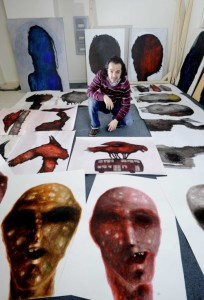 """FREE PICTURE: World famous Syrian Artist Nihad al Turk gives paintings to Leith School of Art charity auction, Wed 22/03/2017: *** EMBARGOED FOR PUBLICATION UNTIL THURSDAY 23RD MARCH 2017 *** Syrian Artist who came on First Refugee Flight Thanks Scotland with Charity Gift - East Aleppo painter arrested for opposing Syrian regime joins more than 50 artists in supporting Leith School of Art fundraising auction A respected artist who was on the first Syrian refugee flight from Lebanon with his family is saying """"thank you"""" to Scotland by donating paintings to a charity auction. Nihad al Turk is pictured with some of his paintings in his Edinburgh studio. More information from: Matthew Shelley - PR consultant for Leith School of Art (LSA) - 07786 704 299 - Matthew@scottishfestivalspr.org Photography for Leith School of Art from: Colin Hattersley Photography - www.colinhattersley.com - cphattersley@gmail.com - 07974 957 388. Free FIRST USE (ONLY) picture. Photography from: Colin Hattersley Photography - colinhattersley@btinternet.com - www.colinhattersley.com - 07974 957 388"""